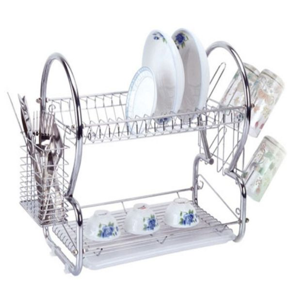Buy 2 Layer Stainless Steel Dish Drainer Rack in Pakistan