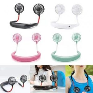 Buy Lazy Neck Hanging Dual Mini Rechargeable Cooling Fan in Pakistan