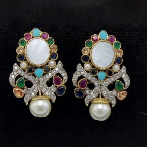 Buy Fancy Multi Color Stone with Pearl Earrings in Pakistan