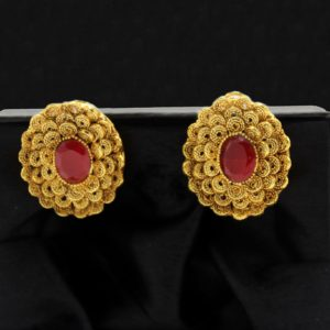 Buy Rose Flower Earrings with Red Stone in Pakistan