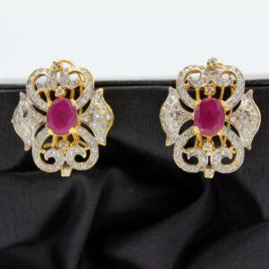 Buy Fancy Pink & White Stone Earrings in Pakistan