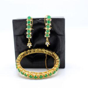 Buy Fancy Green Stone Bangle and Earrings in Pakistan