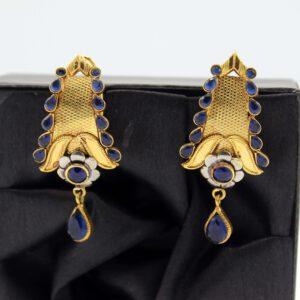 Buy Fancy Purple Stone Golden Earrings in Pakistan