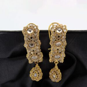 Buy Fancy Purple & White Stone Golden Earrings in Pakistan