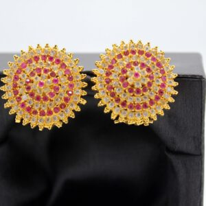 Buy Fancy white and Pink Stone Golden Earrings in Pakistan