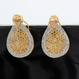 Buy Fancy White and Copper Stone Golden Earrings in Pakistan