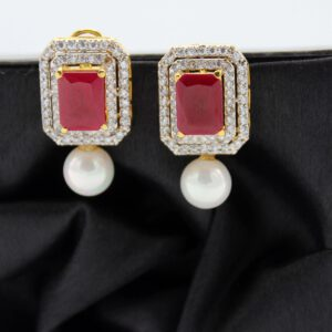 Buy Fancy Maron and White Stone with Pearl Earrings in Pakistan