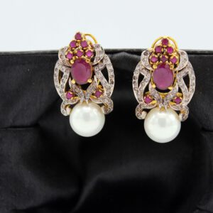 Buy Fancy Pink & White Stone with Pearl Earrings in Pakistan