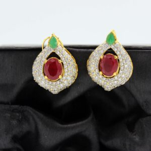 Buy Fancy Green Red and White Stone Golden Earrings in Pakistan