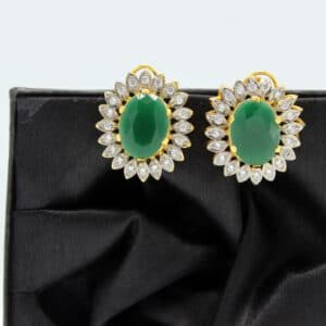 Buy Fancy Green White Stone Golden Earrings in Pakistan
