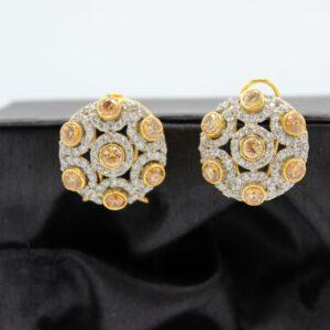 Buy Fancy White and Copper Stone Golden Earrings in Pakistan