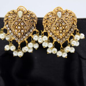 Buy Fancy White Stone with Pearl Golden Earrings in Pakistan