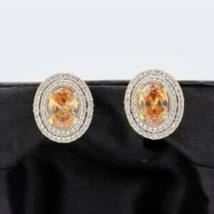 Buy Fancy White and Copper Stone Earrings in Pakistan