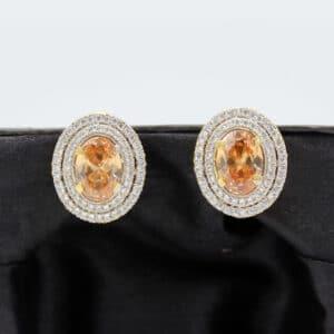 Buy Fancy White and Copper Stone Earrings in Pakistan