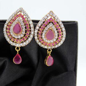Buy Fancy Pink and White Stone Golden Earrings in Pakistan