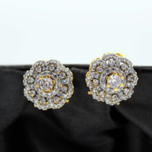 Buy Fancy White Stone Golden Earrings in Pakistan