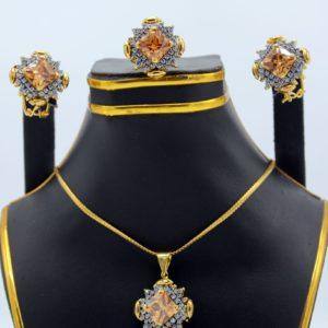 Buy Stylish Necklace With Orange & White Stone in Pakistan