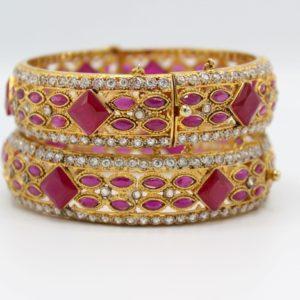 Buy Graceful Fancy Purple & White Stone Bangle in Pakistan