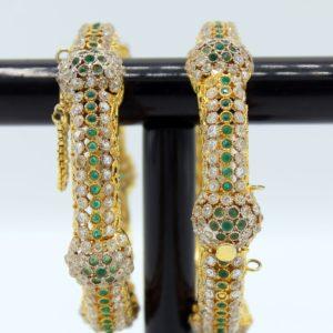 Buy Graceful Fancy Green & White Stone Bangle in Pakistan