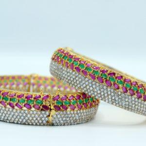 Buy Fancy Purpel Green & White Stone Bangle in Pakistan