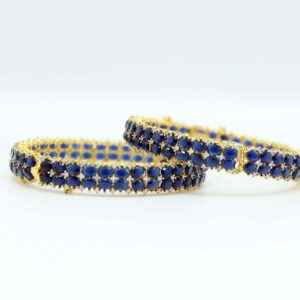 Fancy Gold Polish With Blue Stone Bangle for Women