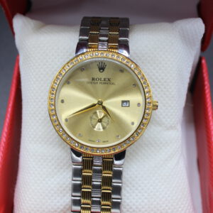 Rolex Oyster Perpetual Round Shape Golden Watch With Stones