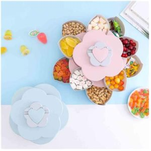 Buy Creative Flower Rotating Design Food Storage Organizer 2 Layers in Pakistan